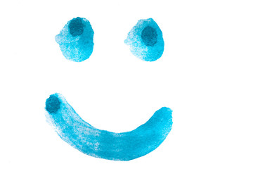 Smiley getuscht in blau