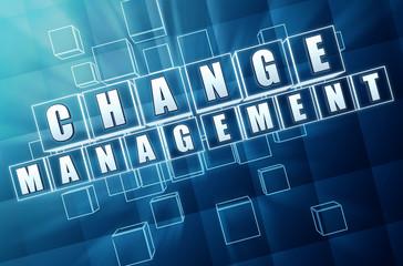 change management in blue glass blocks