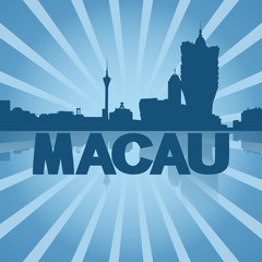 Macau skyline reflected with blue sunburst illustration