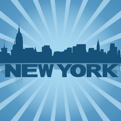 New York skyline reflected with blue sunburst illustration