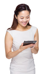 Woman look at digital tablet