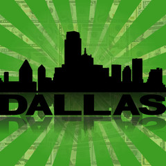 Dallas skyline reflected dollars sunburst illustration