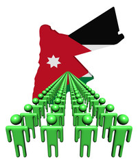 Lines of people with Jordan map flag illustration