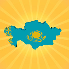 Kazakhstan map flag on sunburst illustration