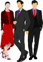 Two businessmen and businesswoman women over white background. V