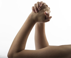 Young hand make embracing hands gesture