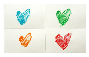 colorful heart love. Art crayon sketch paints.