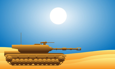 Modern heavy tank in desert