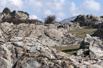 Granite outcrops in Guadarrama Mountains, Madrid, Spain
