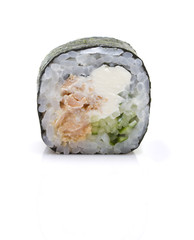One peace sushi roll with shadow isolated on white background
