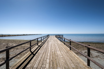 Wooden walkway in Santa Pola, Alicante, Spain