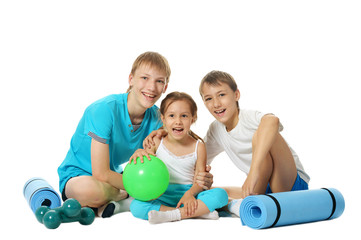 Children with mats