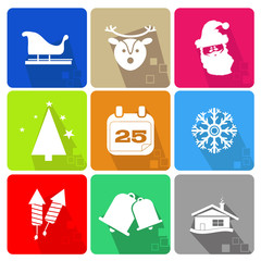 Christmas icons set with objects typical of the party