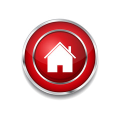 Home Circular Red Vector Web Button Icon