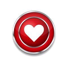 Heart Circular Red Vector Web Button Icon