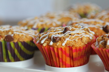 Coffee Cake Muffin with icing glazing