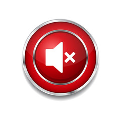 Mute Circular Red Vector Web Button Icon