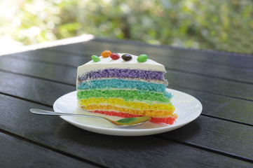 Multicolored peace of cake decorated with sweets