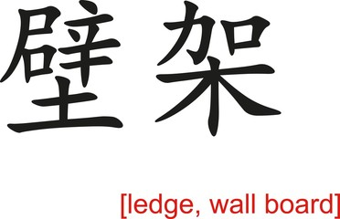 Chinese Sign for ledge, wall board