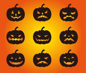 ハロウィーン いろいろな表情のかぼちゃシルエット