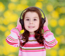 girl with big black headphones