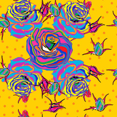 Seamless background. Multicolored roses. pop art