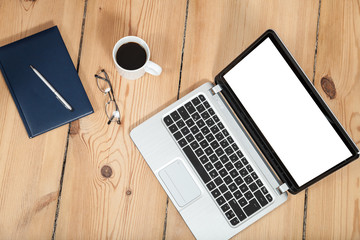 laptop, kaffe und kalender