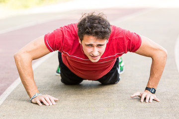 Young Man doing Push-up exercises