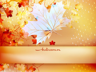 Autumn leave made of triangles. EPS 10