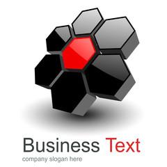 Logo 3D hexagons glossy