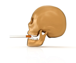 skull smoking cigarette