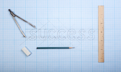 the word success on paper drawings