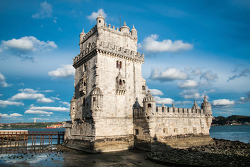 Torre de Belem (Belem Tower) on the Tagus River guarding the ent