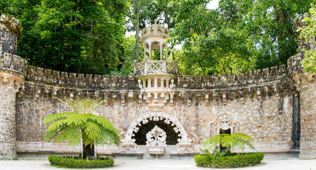 The ancient fountain in the Quinta da Regaleira in Sintra - Port