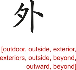 Chinese Sign for outdoor, outside, exterior, beyond, outward