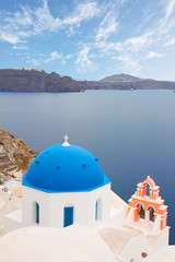 traditional blue dome with sea, Santorini