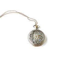 Pocket watch on a chain isolated on white