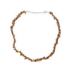 Necklace of tiger's eye isolated over white.