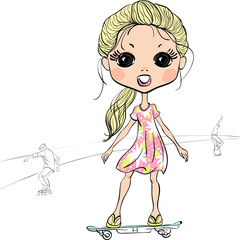 Vector fashion beautiful girl on the skateboard
