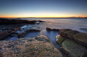 Dawn coast on the rocks at Cronulla, Australia