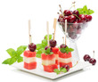 Fresh fruit kebabs on plate