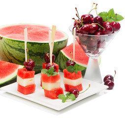 kebab fruit on stick   with melon, cherry and water melon