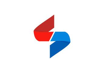 S letter ribbon paper fold logo