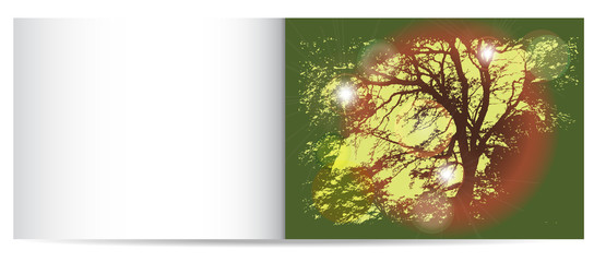 Autumn nostalgy card with silhouette of tree