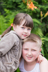 little girl and brother