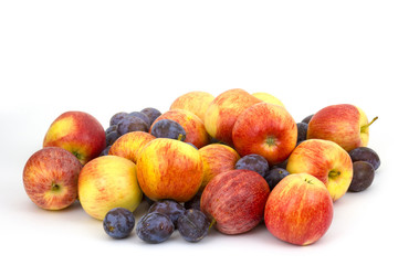 fresh fruits - apples and plums