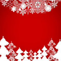 Holiday background with snowflakes Christmas trees