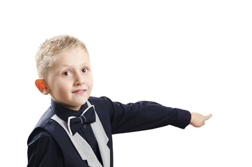 young boy points his finger