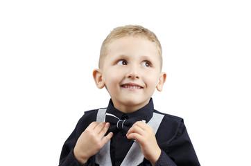 little boy in a waistcoat