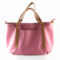 pink artificial leather bag